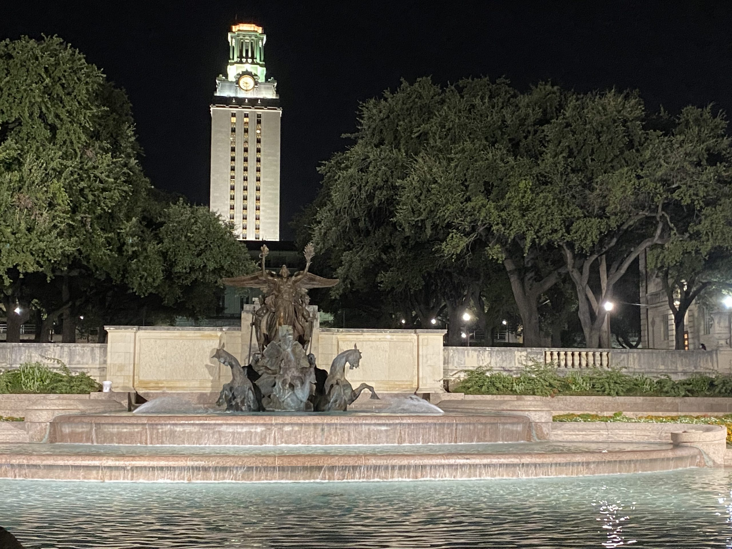 UT Austin at night